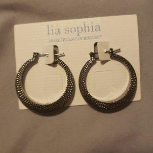 NWT never worn, lia Sophia black hoop earrings
